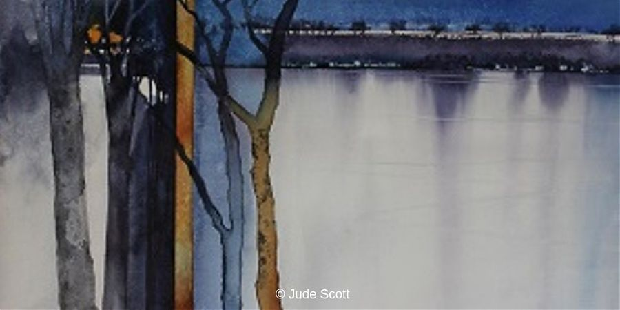 Painting of trees and lake in blue and grey tones