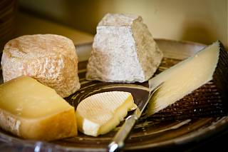 five local cheeses on a plate