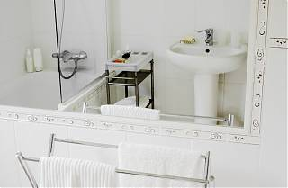 bathroom - bath, shower and sink with white tiles