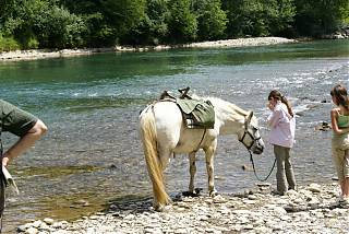girl with horse by the river gave in Pau