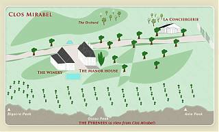 map showing location of all guest accommodation on the Clos Mirabel Estate