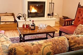 Le salon - avec sofa, fauteuil,et poêle de céramique
